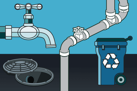 Graphic of waterline, sewer and trash bin