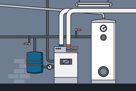 Graphic of commercial waterlines and water heater