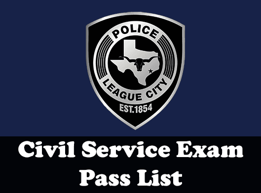 Civil service exam results with police logo