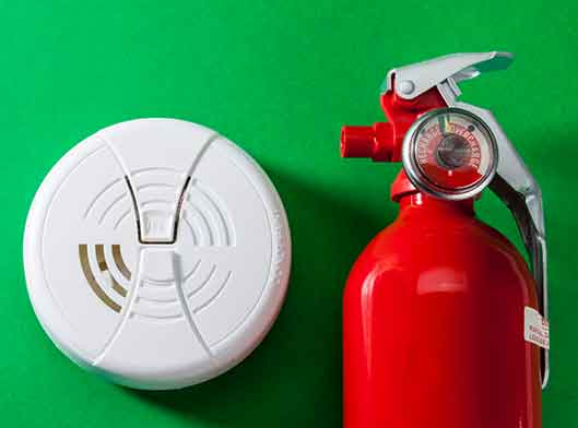 Fire extinguisher, smoke detector and carbon monoxide alarm