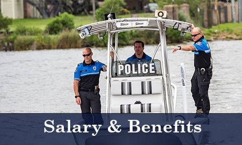 Three police officers on a boat-Salary and Benefits