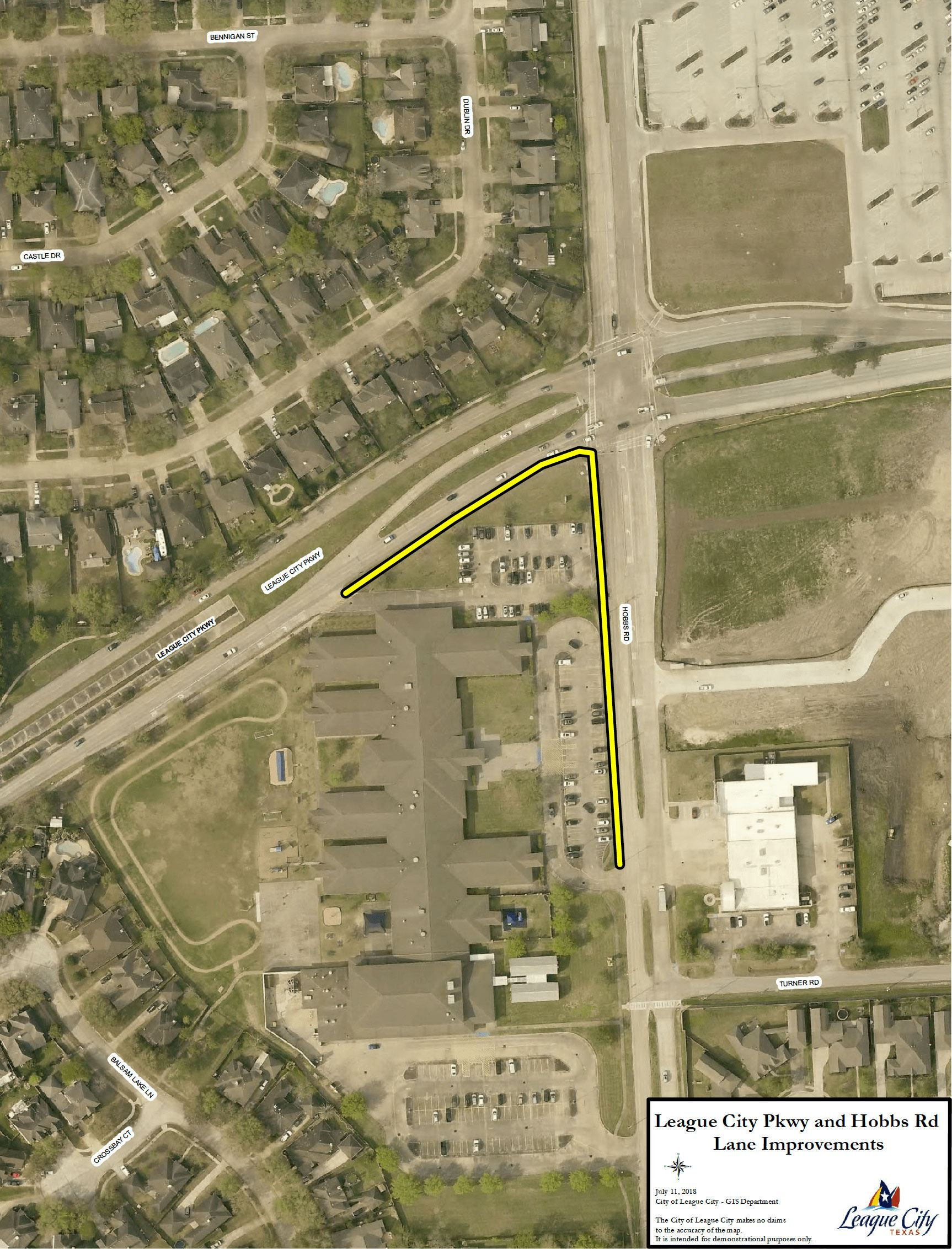 League City Parkway and Hobbs Road Lane Improvements aerial map